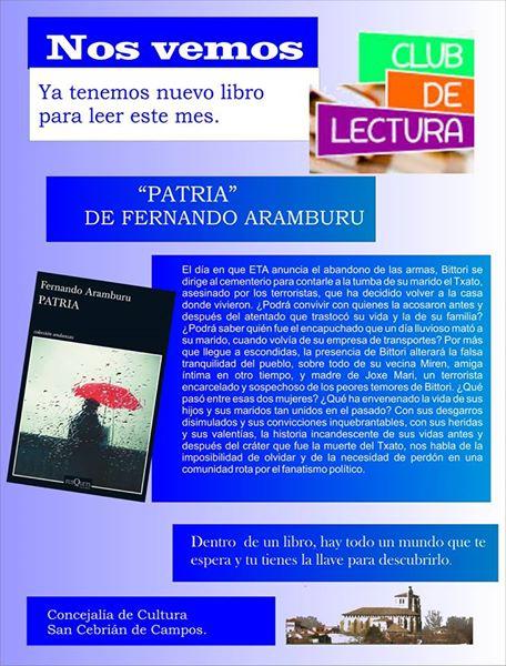Nuevo libro para el Club de Lectura «Patria» de Fernando Aramburu