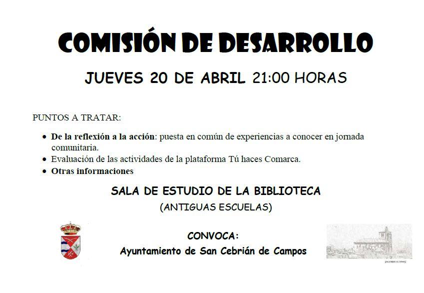 Comisión de desarrollo jueves 20 abril 21:00 h