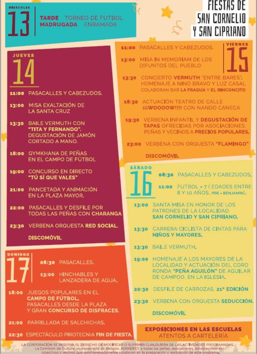 Programa de Fiestas San Cornelio y San Cipriano, 2017