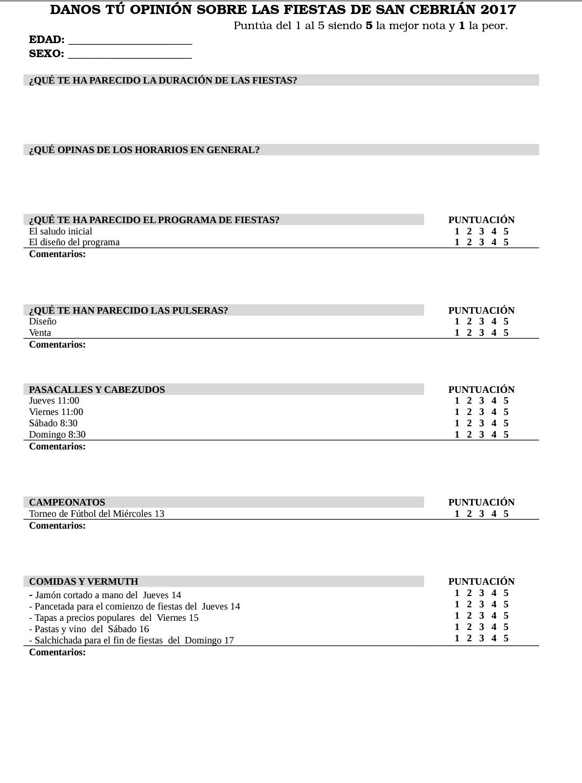 Cuestionario de Evaluación de Fiestas 2017