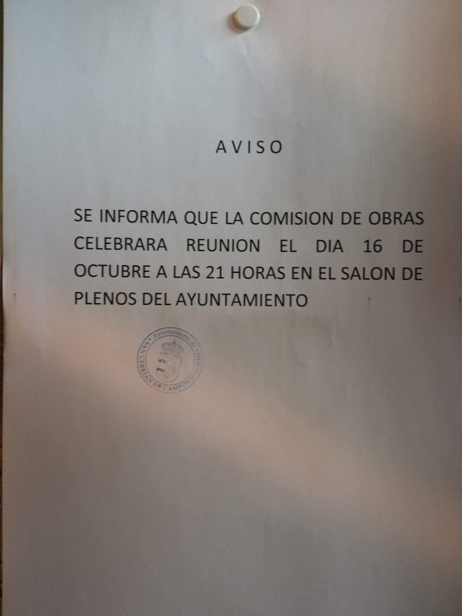 Comisión de Obras 16 de Octubre, 21:00h