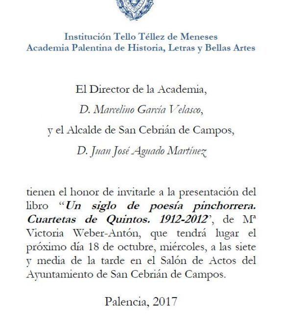 Presentación del libro «Un siglo de poesía pinchorrera» Miércoles 18-10-17